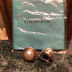 Tiffany pearl pierced earrings